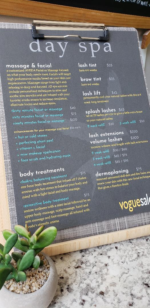 New Day Spa Menu